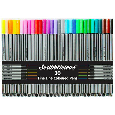 Scribblicious Fine Line Coloured Pens - Pack Of 30, Crafts for Kids, Brand New