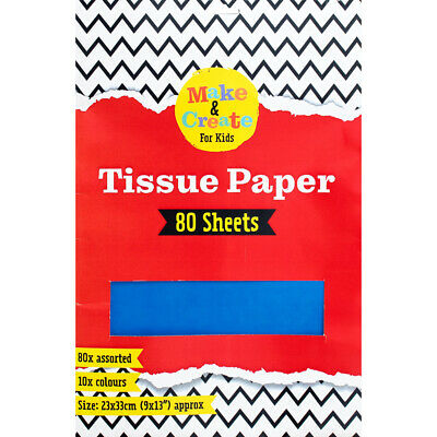 Assorted Coloured Tissue Paper - 80 Sheets, Art & Craft, Brand New