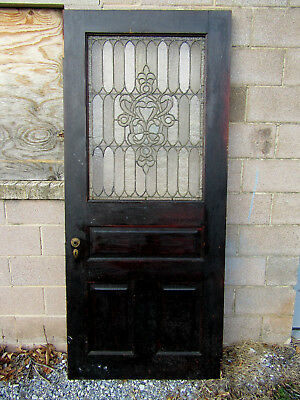 ~ Antique Oak Stained Leaded Glass Door ~ 36 X 81 ~ Architectural Salvage ~