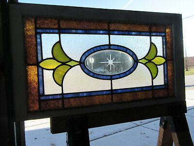 ~ ANTIQUE STAINED GLASS TRANSOM WINDOW ~ 35 x 19 ~ ARCHITECTURAL SALVAGE