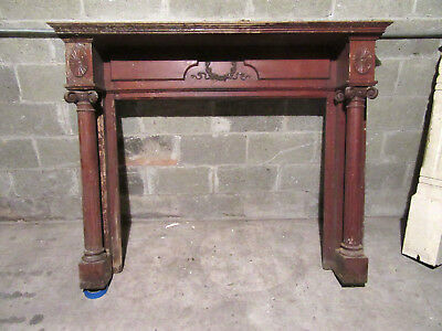 "~ Ornate Antique Oak Fireplace Mantel ~ 43"" Opening ~ Architectural Salvage ~"