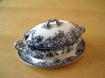Antique Semi-Porcelain Blue/white Small Tureen +Stand By Booths –Melsary Pattern