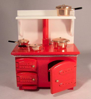 Dolls house Miniature range RED Cooker/Stove with copper pans 1:12 Streets Ahead