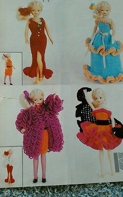 Knitting pattern Fashion (Barbie type) Teenage Dolls Clothes DK Yarn