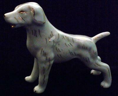 Vintage Japan White Retriever Porcelain Ceramic Dog Figurine With Gold Accents