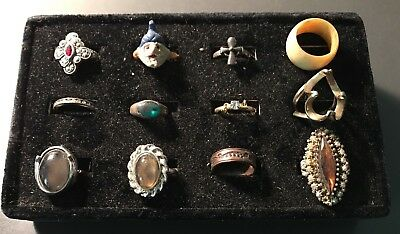 Big Vintage Costume Jewelry Ring Lot  / Estate Treasure Find!