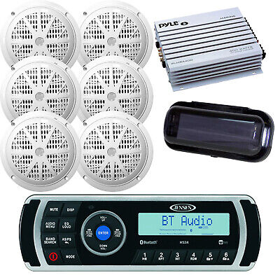 """New Kenwood Boat Yacht Radio CD USB AUX+ 6x 6.5"""" White Speakers, 400W Amp, Cover"""
