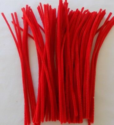 RED Chenille Craft Stems Pipe Cleaners 30cm 12""