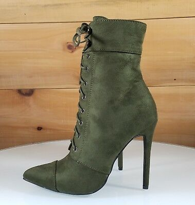So Me Kayla Olive Army Green Pointy Toe Lace Up High Heel Ankle Boot Shoe 6.5-11