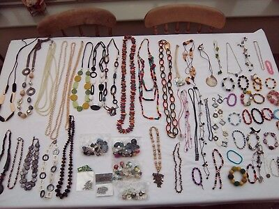 Huge Job lot  costume necklaces, bracelets, jewellery, beads, 60 + items