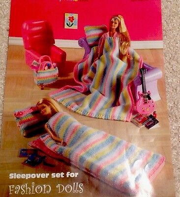 "knitting pattern sleepover set 11"" (barbie type) fashion doll (laminated copy)"