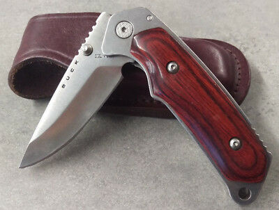 Buck Knife Alpha Hunter Bos ATS-34 Blade Rosewood grips With leather sheath!!