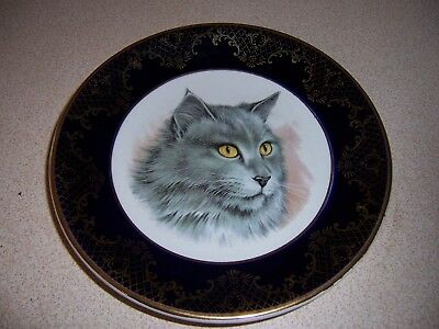 Vtg Weatherby Cobalt Falcon Ware Gray Cat Plate - Nebelung?