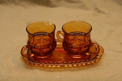 Vintage Antique Amber Glass Cream Sugar Tray Hobnail Coin Pattern