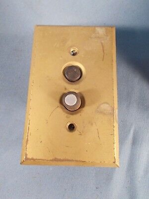 Antique Push Button Light Switch and Brass Plate Cover, c1900s
