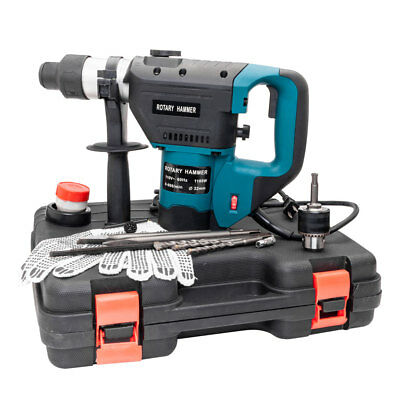 "Portable Blue 1-1/2"" Electric Hammer Drill Set SDS Rotary Demolition Tool Kit"