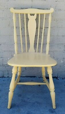 Antique Vintage Painted Beige Wooden Kitchen Patio Chair Heywood Wakefield Co.