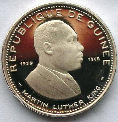 Guinea 1969 Martin Luther King 100 Francs Silver Coin,Proof