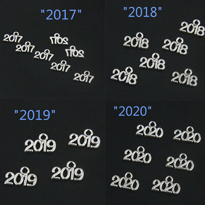Lots 20Pcs Years Number 2017 2018 2019 2020 Tibetan Silver Pendants Charms Craft