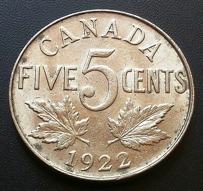1922 Canada 5 Cents Nickel ***ef+ Condition*** Free Combined Shipping