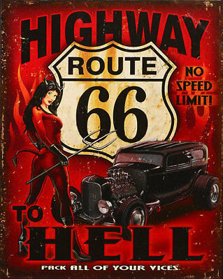 Retro-Classic Blechschild Highway Route 66 - No Speed Limit, Us-Hell Race Style