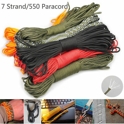 33/50/100FT 550 Paracord Parachute Cord Lanyard Mil Spec 7 Strand Core 32 colors