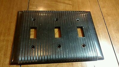 Vtg Triple Gang Bakelite Brown Ribbed Bryant Switch Plate Cover Deco Mid Century