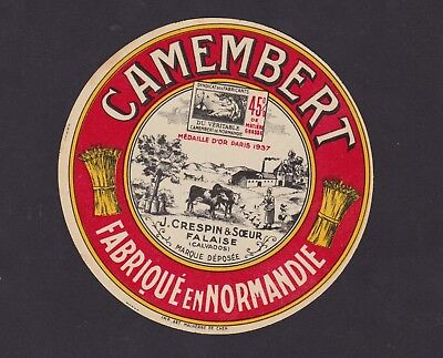 Ancienne étiquette Fromage France BN35958 Camembert Crespin & Soeur Calvados