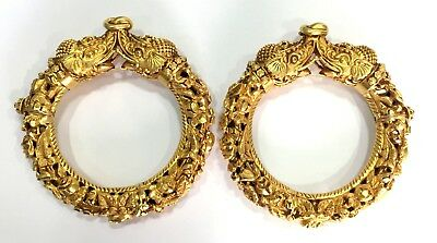 Vintage antique Handmade solid 20K Gold hinge Bracelet Bangle Pair Orissa