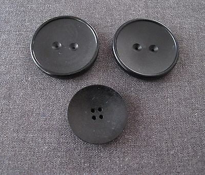 3 Antique 1930's Art Deco Black Galalith Large Buttons