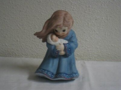 Vintage Blue Porcelain Girl Holding a Baby Handcrafted in Taiwan