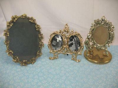 3 Small Vintage Cottage Chic Ornate Cast Metal Photo Frames No Glass 59M7L