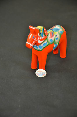 "Nils Olsson hand painted 4"" horse red dala vintage tag 1598#31"