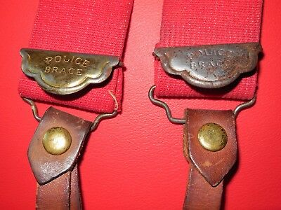 Authentic Vintage Police Braces Red Suspenders Leather Brass Hardware