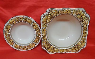 6 Vintage Crown Ducal China Florentine Raised One Fruit Serving & Five Bowls