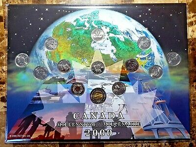 Canada 2000 Millennium Designs 13 Coin UNC BU Quarter & Knowledge Toonie Set!!