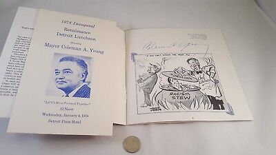 Mayor COLEMAN YOUNG AUTOGRAPH 1978 Inaugural Lunch Program Detroit News Cartoons