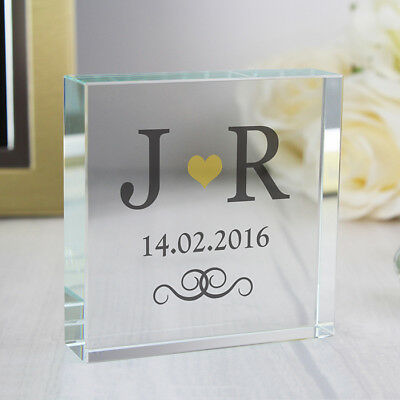 Personalised Gold Monogram Large Crystal Token Wedding 50th Anniversary Gift