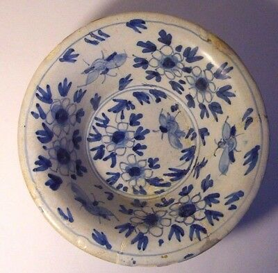 17th - 18th century  Tin glazed earthenware Bowl with Moths.