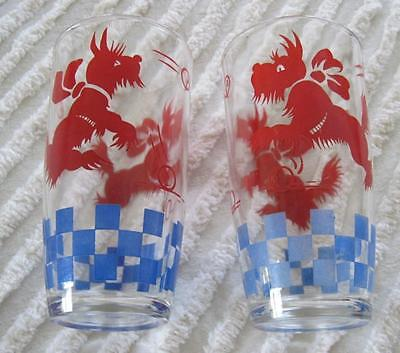"""Two Red Scotty Scottie Dog Blue Checked 5.75"""" Glasses"""