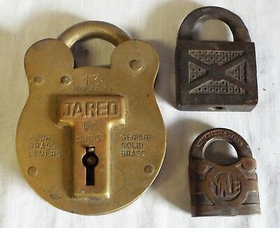 Lot of 3 Antique ASSORTED BRASS PADLOCKS LOCKS Yale & Towne Jas. Morgan Jared