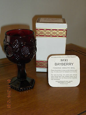 Avon 1876 Ruby Red Cape Cod Collection Wine Goblet w/Christmas Bayberry Candle