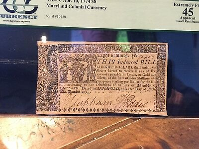 MD-70 Apr. 10, 1774 $8 Maryland Colonial Currency  PCGS XF45
