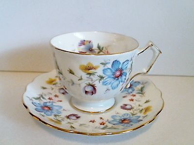 Aynsley Bone China Cup & Saucer Gold Trim Blue Purple Yellow Flowers VTG EUC