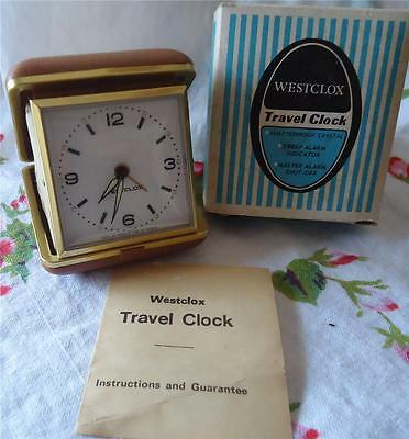 Vtg ~ WESTCLOX Travel Alarm CLOCK ~ 44238 ~  w Box ~ WORKS ~ Tan Illuminous