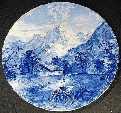 """J & G Meakin 11 3/4"""" Charger Plate Wall Plaque Mountains Cabin Alps ? Blue White"""