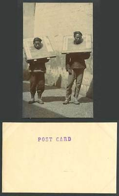 China Old Real Photo Postcard 2 Chinese Prisoners in CANGUE, Corporal Punishment