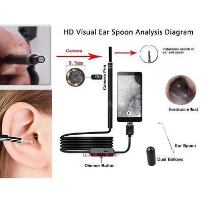 USB Ear Cleaning Endoscope W/ Mini Camera Visual Earpick Ear Cleaning Tool