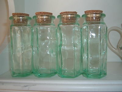 FOUR SMALL GREEN APOTHECARY SPICE JARs W/CORKs ~ 6 SIDED