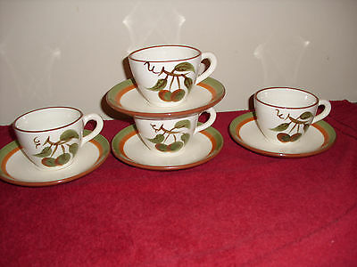 Vintage Stangl Pottery Orchard Song Cups & Saucers (Qty  4)
